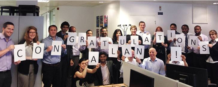 UK office congratulatory photo